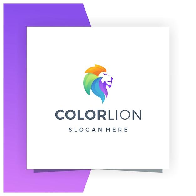 Lion colorful logo design premium Vettore Premium