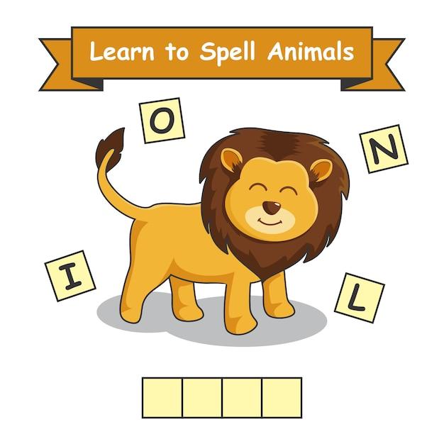 Lion impara a sillabare gli animali Vettore Premium