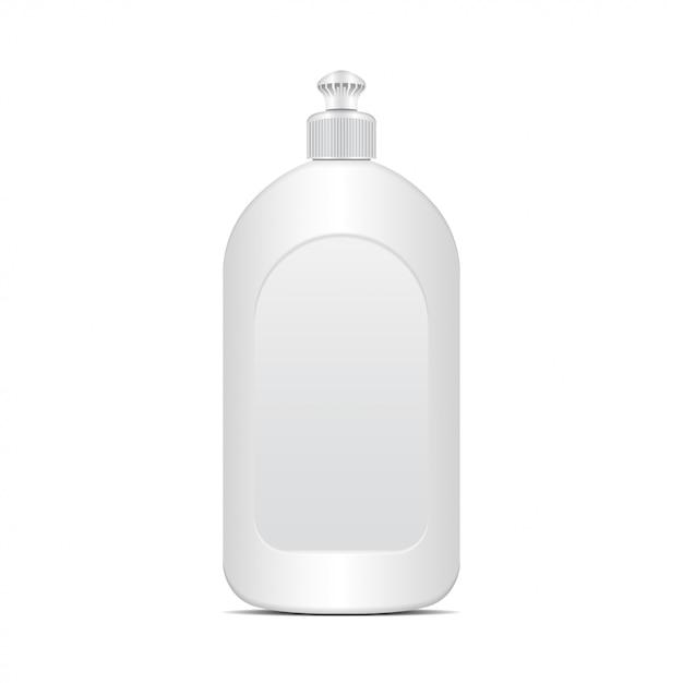 Liquido per piatti bianco o bottiglia di sapone. modello realistico Vettore Premium
