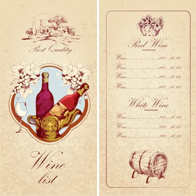 Lista dei vini Vettore gratuito