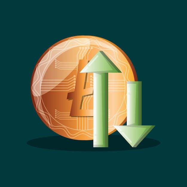 Litecoin e frecce finanziarie Vettore Premium