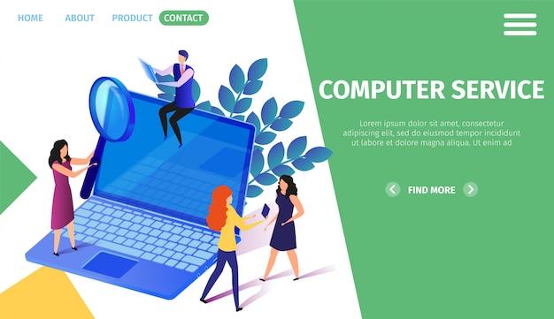 Little people characters activity al computer portatile enorme Vettore Premium