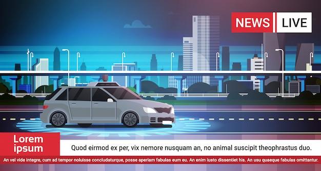 Live news report con car inseguimento su strada Vettore Premium