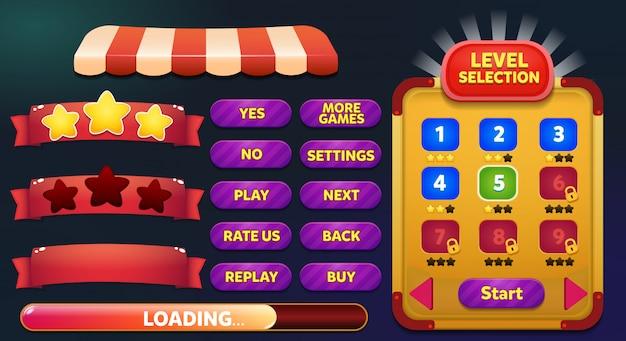 Livelli di selezione del menu di gioco con pulsanti di gioco, barra di caricamento e vittoria perdono stelle Vettore Premium