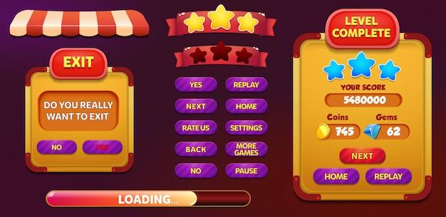 Livello completato e schermata di pop-up del menu exit con stelle e pulsante Vettore Premium