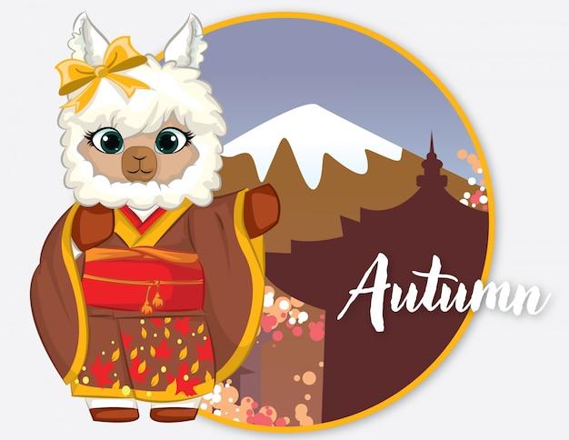 Llama con kimono e autunno in giappone Vettore Premium