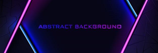 Lo sfondo al neon astratto con una linea di luce blu e rosa e una trama. Vettore Premium