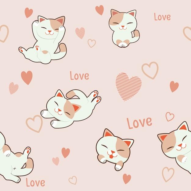 Lo sfondo modello senza giunture di carattere simpatico gatto con il cuore. il motivo cuore rosa e testo amore. Vettore Premium