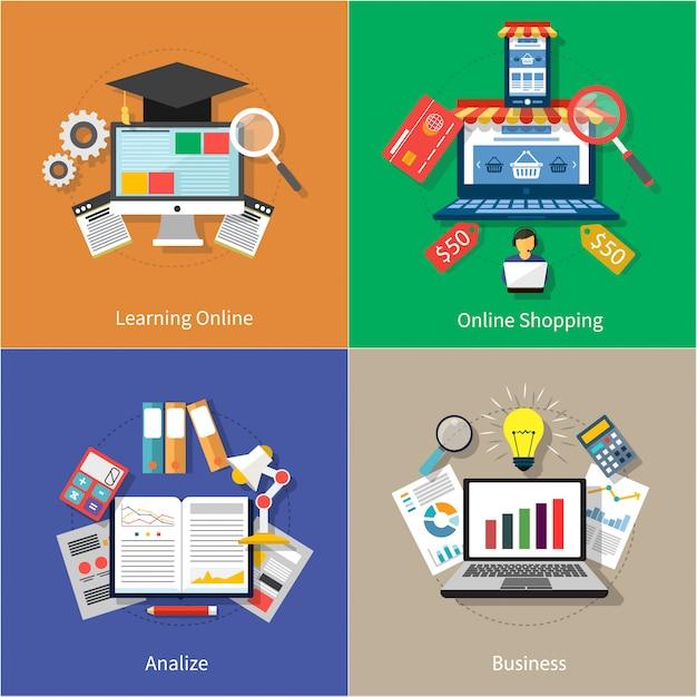 Lo shopping online, analizzare e icone moderne di business impostato su quattro banner multicolor Vettore Premium