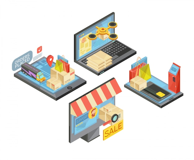 Lo shopping online composizioni isometriche con pacchetti e borse, pagamento, consegna, servizio di supporto, dispositivi mobili isolato illustrazione vettoriale Vettore gratuito