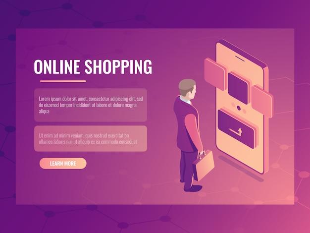 Lo shopping online concetto isometrico, l'uomo fa un acquisto, smartphone cellulare Vettore gratuito