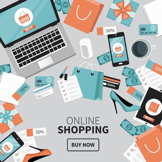 Lo shopping online Vettore Premium