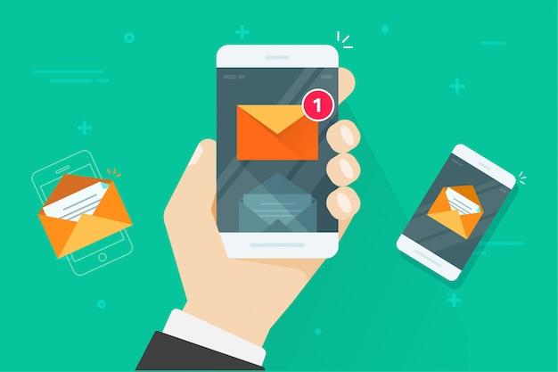 Lo smartphone piano del fumetto con i messaggi in arrivo letti e non letti o le notifiche del cellulare del email vector l'illustrazione Vettore Premium