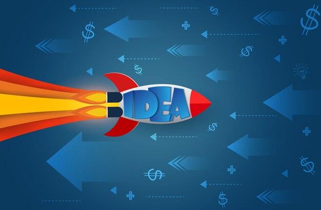 Lo space shuttle si dirige nella direzione opposta la freccia e l'icona vanno verso l'obiettivo per raggiungere il successo Vettore Premium