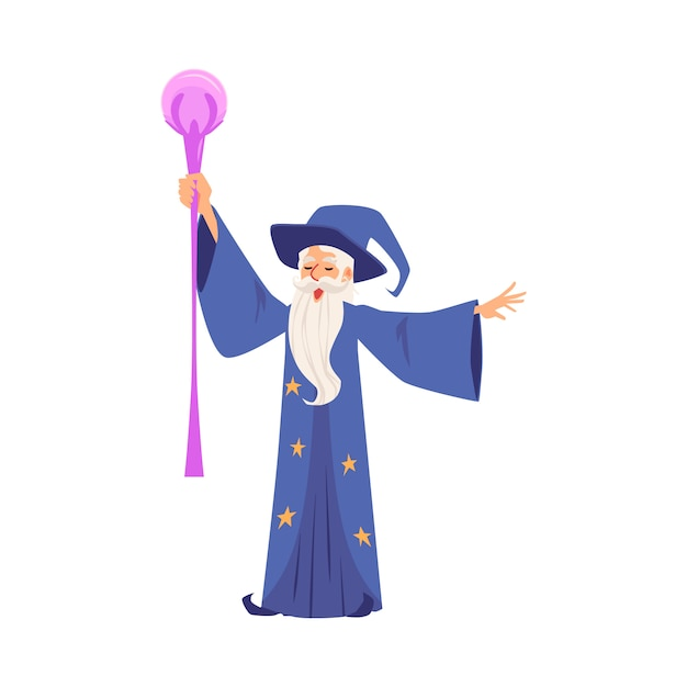Lo stregone o il mago crea l'illustrazione piana magica di vettore isolata su bianco. Vettore Premium