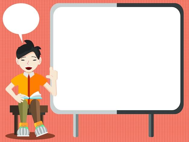 Lo studente o l'uomo d'affari spiega le informazioni sulla scheda di presentazione vuota Vettore Premium