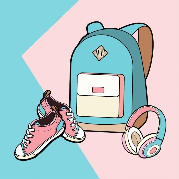 Lo zaino, le scarpe da tennis e le cuffie vector l'insieme isolato Vettore Premium