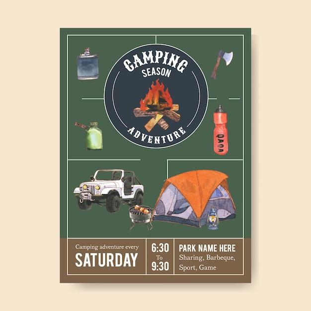 Locandina campeggio con illustrazioni di ascia, falò, auto e griglia Vettore gratuito