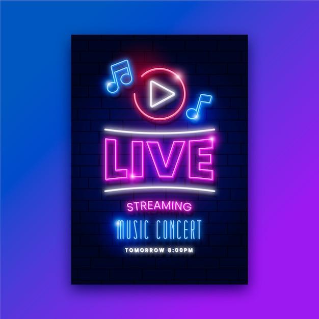 Locandina concerto di musica in diretta streaming Vettore gratuito