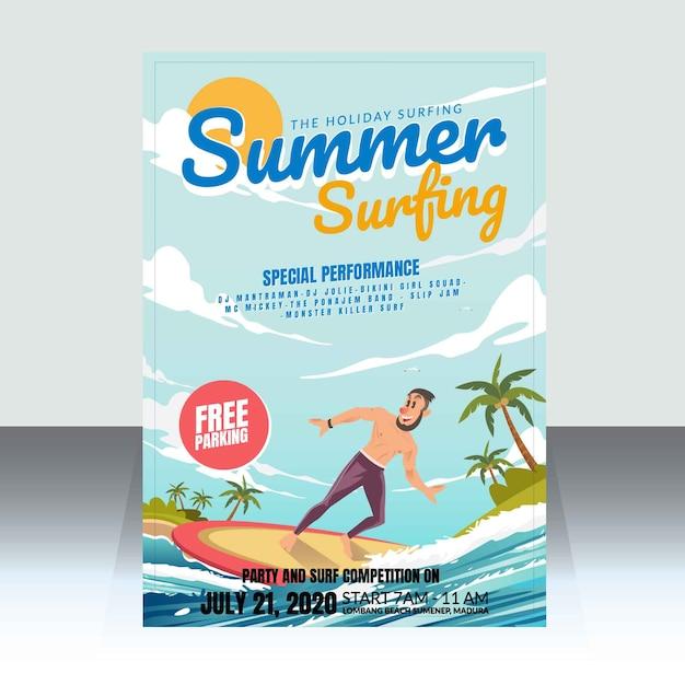 Locandina della competizione di surf estivo Vettore Premium
