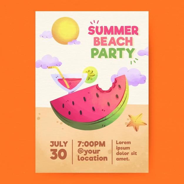 Locandina festa estiva dell'acquerello Vettore gratuito