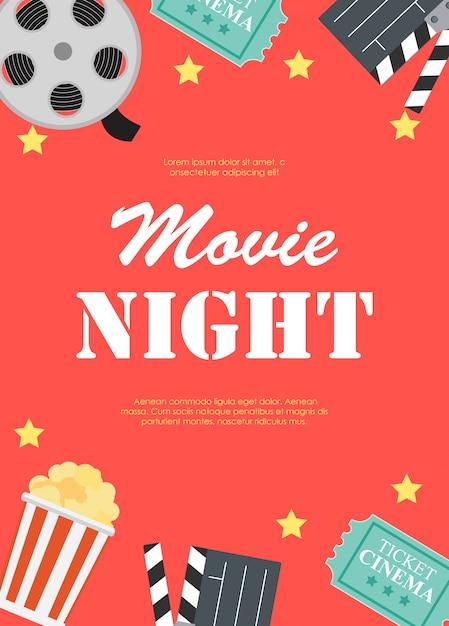 Locandina piatta del cinema di notte di film Vettore Premium