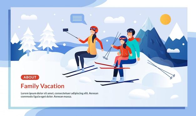 Locandina promozionale per vacanze invernali per famiglie in montagna Vettore Premium