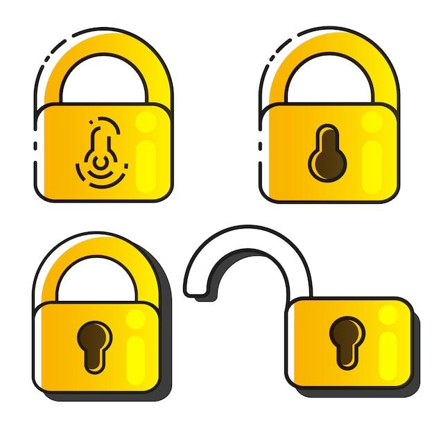 Lock icons set Vettore Premium