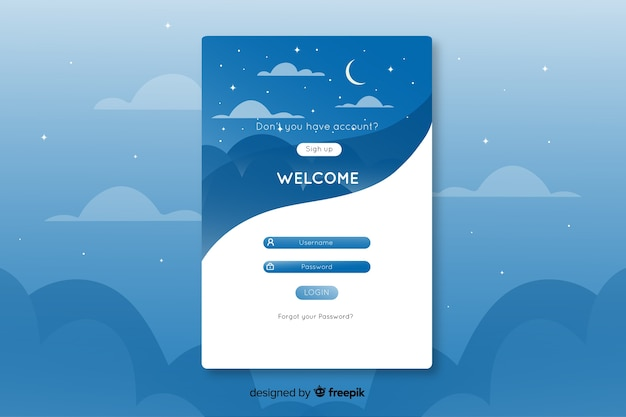 Log design unico nella pagina di destinazione con cielo stellato Vettore gratuito