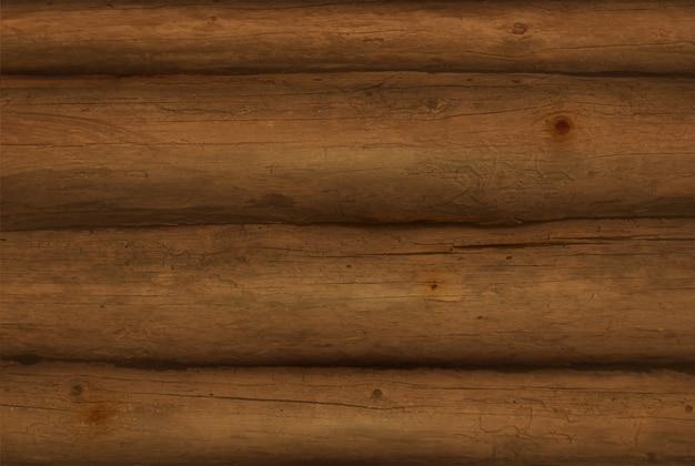 Log in legno marrone realistico Vettore Premium