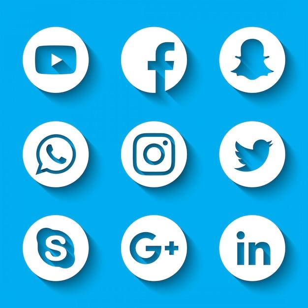 Loghi 3d di social media Vettore Premium