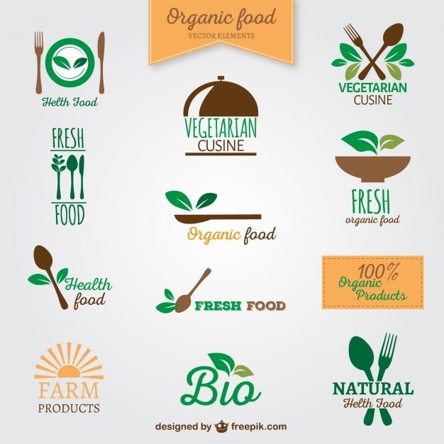 Loghi alimenti biologici Vettore gratuito