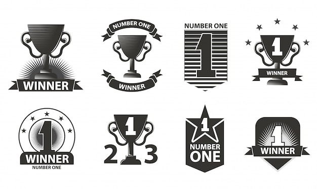 Loghi, badge, emblemi del vincitore Vettore Premium