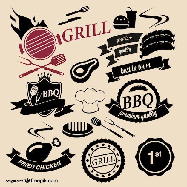 Loghi barbecue Vettore gratuito