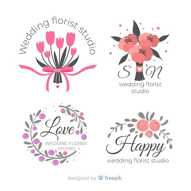 Loghi colorati fiorista matrimonio Vettore gratuito