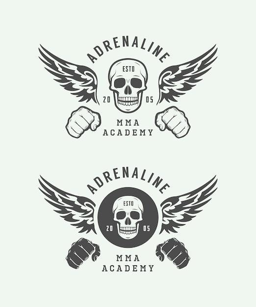 Loghi del club di combattimento, emblemi Vettore Premium