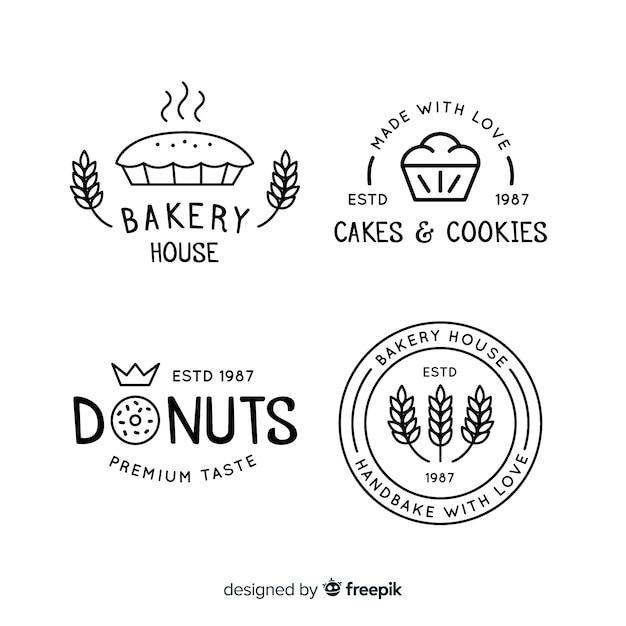 Loghi della linea art bakery Vettore gratuito
