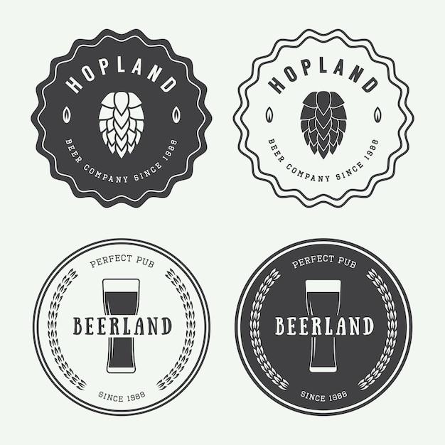 Loghi di birra e pub Vettore Premium