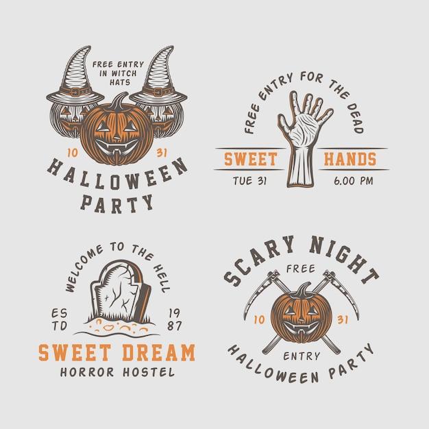 Loghi di halloween, emblemi Vettore Premium