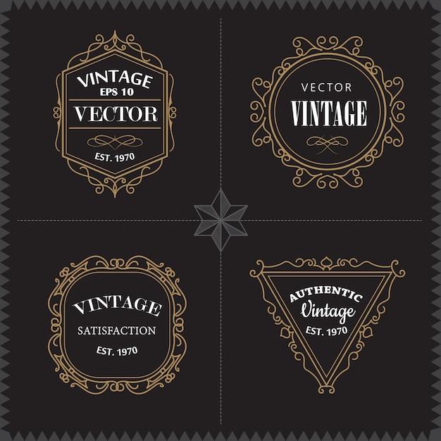 Loghi di lusso impostare elegante cornice vintage distintivo modello Vettore Premium