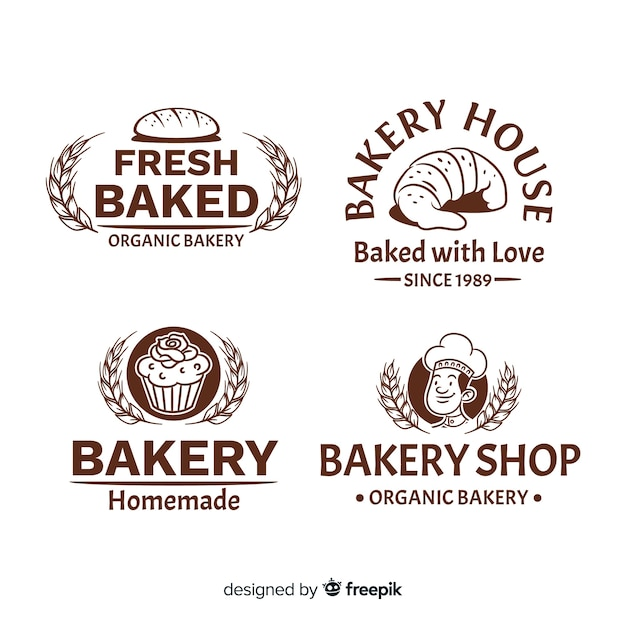 Loghi di panetteria vintage Vettore gratuito