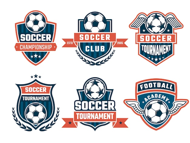 Loghi diversi per set di etichette o club di calcio Vettore Premium