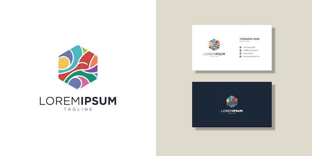 Loghi e biglietti da visita, colorato simbolo astratto Vettore Premium