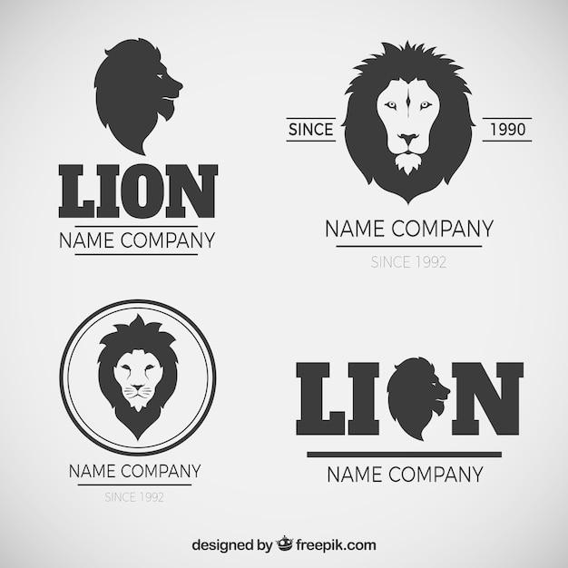 Loghi eleganti di leone con stile moderno Vettore gratuito