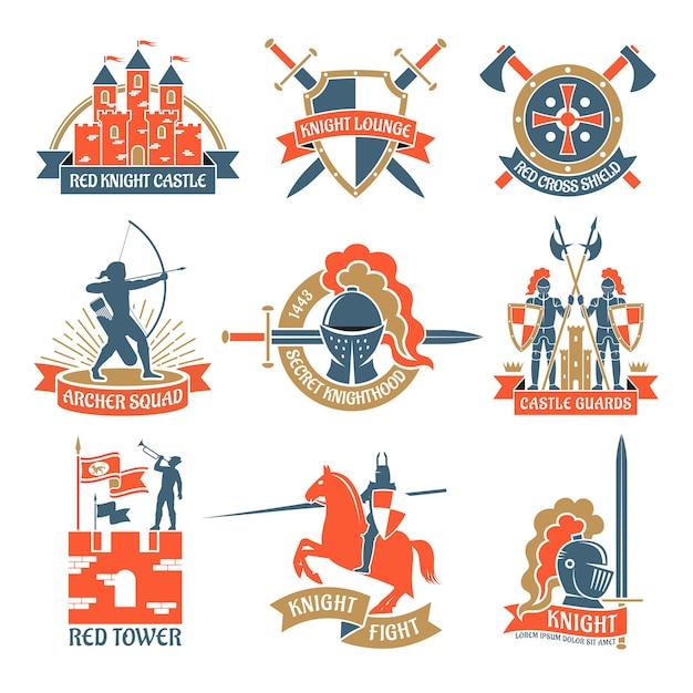 Loghi emblemi cavalieri araldici Vettore gratuito