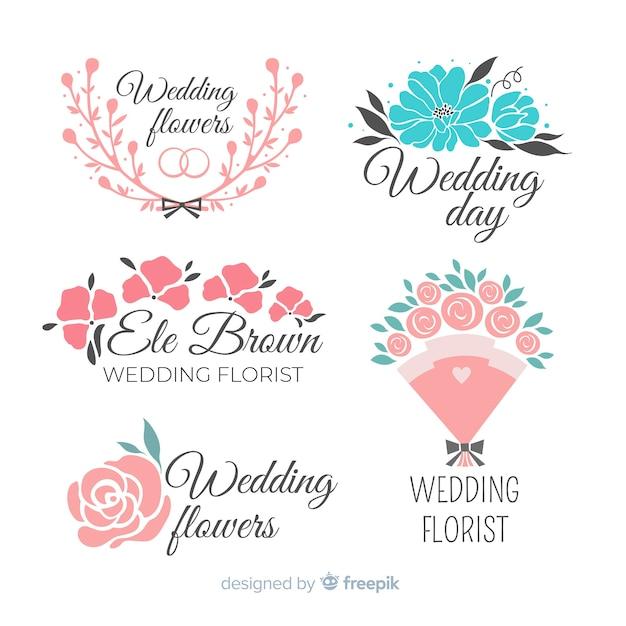 Loghi fiorista bel matrimonio Vettore gratuito