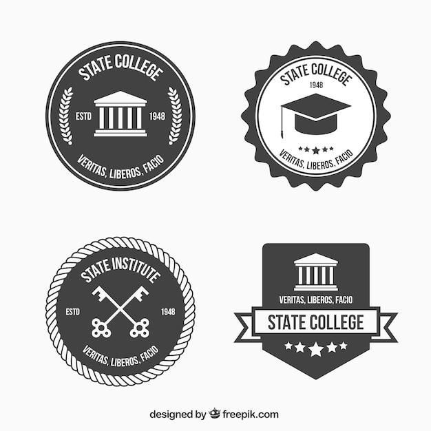 Loghi in bianco e nero per il college Vettore gratuito