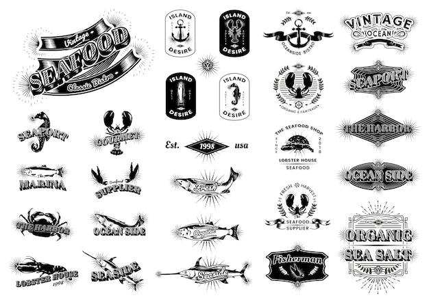 Loghi marini vintage Vettore Premium
