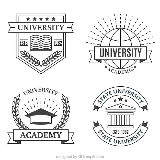 Loghi realizzati con linee per l'università Vettore gratuito