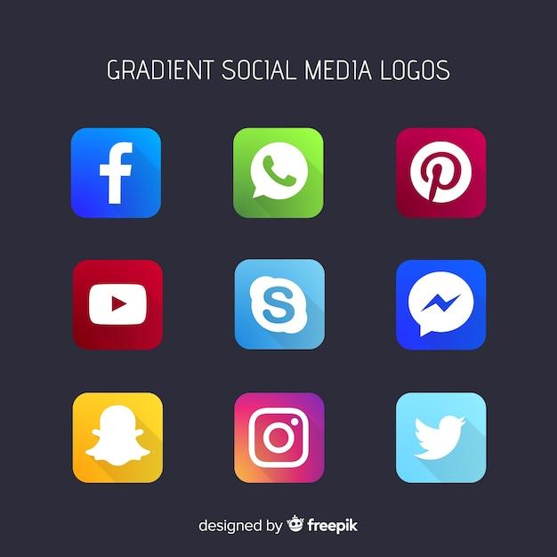 Loghi social media gradiente Vettore gratuito